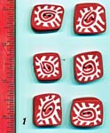 Set of 6 Red Geometric Polymer Buttons