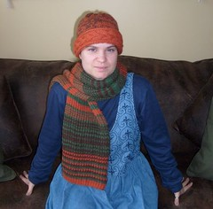 Stripy scarf and Coronet hat