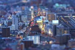 Fukushima city miniture (Shenanigans in Japan) Tags: city night lights miniature interestingness interesting flickr fake explore  12 prefecture fukushima  tiltshift   explored  mywinners