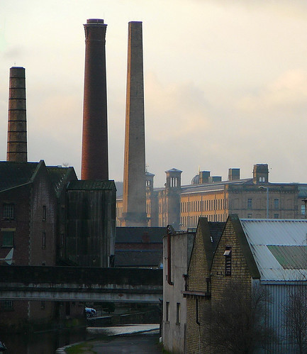 Chimneys and Salt's Mill, from Shipley