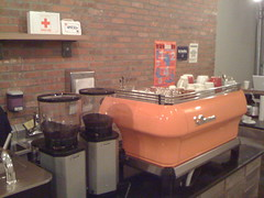 The really pretty espresso machine and grinders