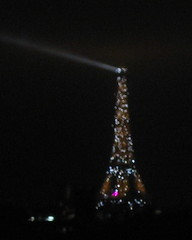 Eiffel Tower with Searchlight and Glitter