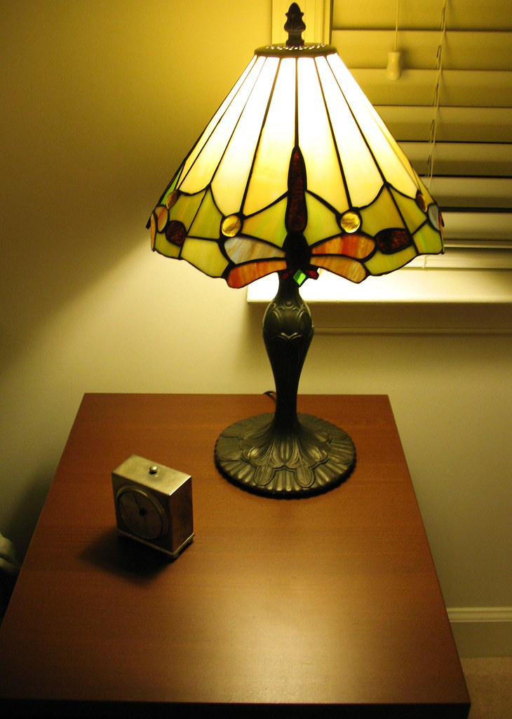 Nightstand With Dragonfly Lamp