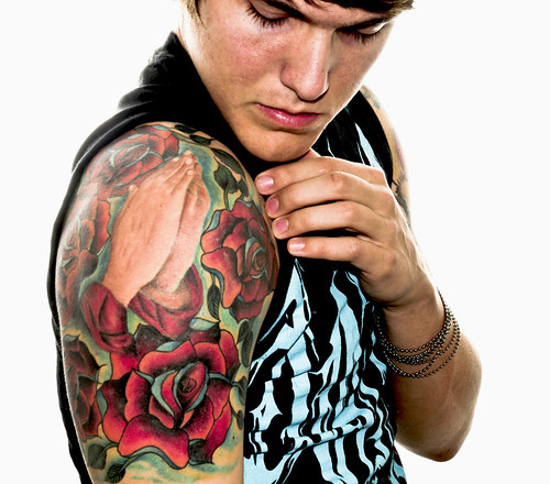 Flower Tribal Tattoo Design Tattooed in the Right Arm of A Sexy Mexican Man