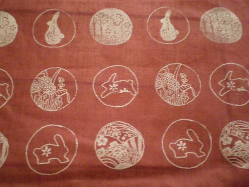 hand printed fabric - rabbit theme