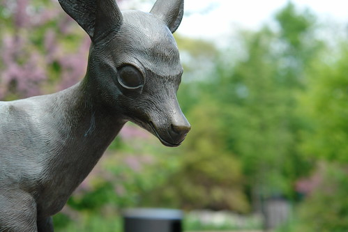 evil deer statue. i don't trust it.
