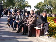 old people enjoying the music at Xihu (Hangzhou)