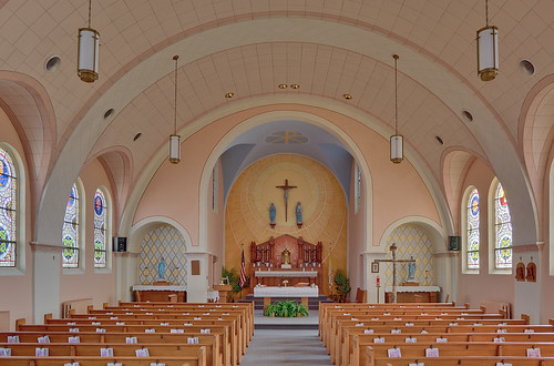 Saint Mary's Roman Catholic Church, in Fieldon, Illinois, USA - nave