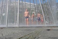 Gay Games 2002 in Sydney - taking a shower after the half marathon