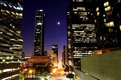 L.A.: From the Inside Out (Jacob K. Cunningham) Tags: ca city usa moon color skyline night la losangeles timelapse cityscape bright tl sleep nightlife soe smrgsbord concretejungle flickrsbest jacobkcunningham