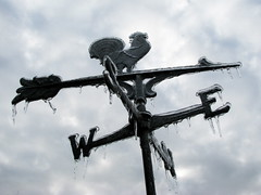 Iced Weather Vane (jciv) Tags: winter cold chicken ice frozen wind directions icicle weathervane icicles windvane weathercock file:name=img2566