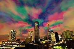 lsps080206a (tie-dye circumcision) (mugley) Tags: city chimney urban skyline architecture night clouds buildings nikon industrial scaffolding skyscrapers crane australia melbourne demolition victoria tricolor 12mm d300 3xp lonsdalestpowerstation tokina1224mmf4atxpro tricoloureffect