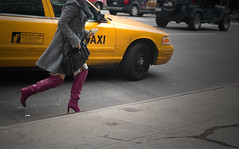 taxi (Runs With Scissors) Tags: nyc newyorkcity eastvillage highheels cab taxi yellowcab running gothamist curb notepad yellowtaxi purpleboots noaddedsaturation 1on1urbanphotooftheweek 1on1urbanphotooftheweekfebruary2008