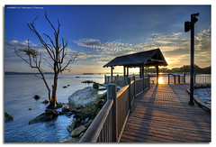 Changi Boardwalk (DanielKHC) Tags: sea tree sunrise landscape dawn nikon bravo singapore rocks hut boardwalk changi hdr d300 sigma1020mm kelong firstquality photomatix tonemapped 7exp danielcheong danielkhc