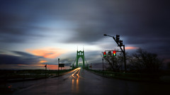 Back to the bridge, 120 seconds (Zeb Andrews) Tags: city longexposure urban oregon portland traffic dusk bridges headlights pinhole pacificnorthwest zeroimage artopening stjohnsbridge pinscape lastthursday zero69 bluemooncamera zebandrews 35mphplease honkifyouknowthephotographer zebandrewsphotography