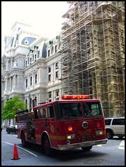 Philadelphia Fire Truck (Harpo42) Tags: red philadelphia lights cityhall firetruck pa fireman macys fireengine philly 20 broad firedepartment wanamaker falsealarm pfd orangecone juniperstreet southpennsquare