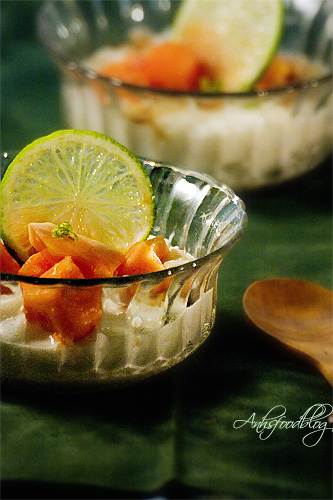 Coconut Milk Rice Pudding with Papaya & Lime