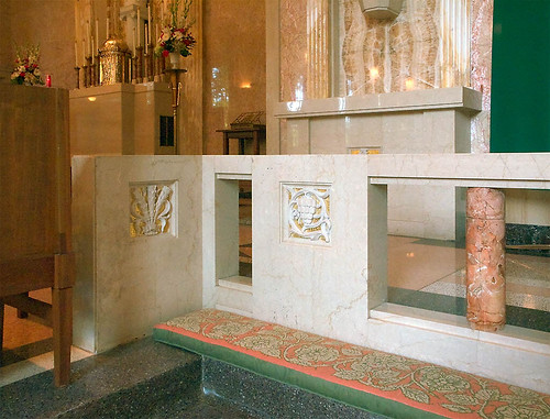 Our Lady of the Pillar Roman Catholic Church, in Creve Coeur, Missouri, USA - communion rail detail.jpg