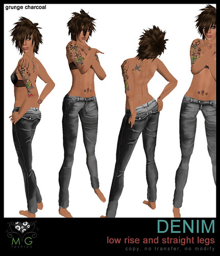[MG fashion] DENIM low rise and straight legs (grunge charcoal)