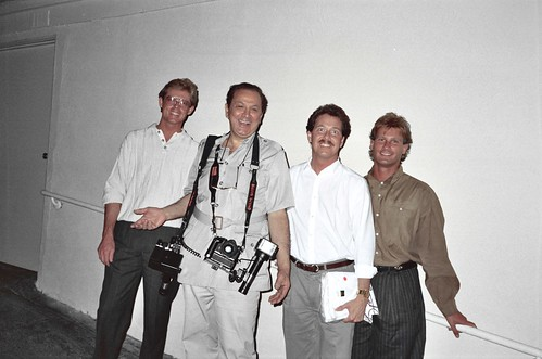Alan, Ron Galella, Rick, and Todd at the original Spago on Sunset Blvd, 1988 - photo by Shel Dorf
