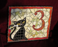 House number plaque (stiglice - Judit) Tags: cat mosaic mosaique mozaiek mozaik