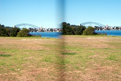 sydney harbour and bridge (yewenyi) Tags: stereoscopic 3d australia nsw newsouthwales coathanger aus parallel sydneyharbour woolwich sydneyharbourbridge stereoscopy pc2110 huntershill oceania auspctagged parramattariver lanecoveriver parallelview lowernorthshore thecoathanger greatersydney clarkespoint clarkespointreserve
