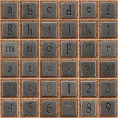 Pewter letters and numbers (Leo Reynolds) Tags: fdsflickrtoys photomosaic alphabet alphanumeric abcdefghijklmnopqrstuvwxyz abcdefghijklmnopqrstuvwxyz0123456789 hpexif groupfd groupphotomosaics mosaicalphanumeric xratio11x xleol30x xphotomosaicx