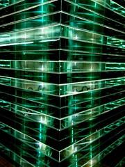 Station (tanakawho) Tags: city light shadow urban green geometric station metal corner object pipe line plastic translucent yokohama  tanakawho 1on1colorfulphotooftheweek 1on1colorfulphotooftheweekfebruary2008