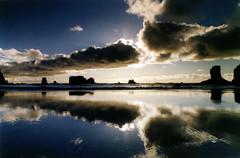 a first-rate sunset at second beach (manyfires) Tags: ocean blue sunset sea reflection film beach coast washington nikon shoreline olympicpeninsula pacificocean pacificnorthwest fm secondbeach seastacks nikonfm opnw