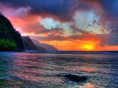 Ke'e Beach sunset (Chuck 55) Tags: park beach hawaii state kauai coastline napali kee haena keebeach kauaihawaii beachkee