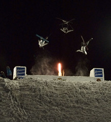 Tri-Fly at Night (ahuntingwwgo) Tags: snow ski fly jump snowskiing skijump anawesomeshot megashot