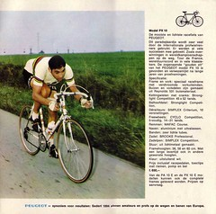 Eddy Merckx from a 1969 Peugeot catalog. He pedaled, Toe Down. Photo uploaded to Flickr by Stronglight