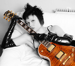 Love and death and an american guitar (Rune T) Tags: bw girl rock les cutout cherry paul guitar chick gloves sunburst gibson supreme pinkham