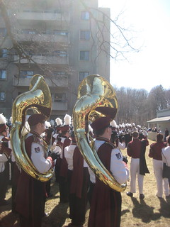 umass marching band. sizable chunk of the UMass student body go to foot