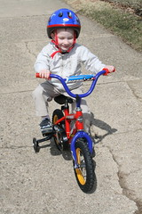 Kade riding his new bike