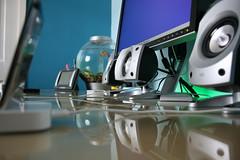 Desk Level (DeclanTM) Tags: windows black ikea glass digital canon mouse eos mac ipod desk ericsson sony flash touch optical ascot mini os x card leopard dell revolution laser wireless lcd mx cf compact logitech biorb sharkoon 400d w580i z5500s idect