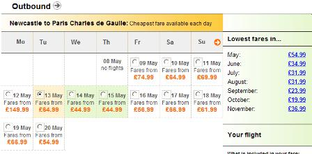 EasyJet flight search