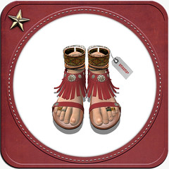 Ethnic Fringe Sandal Red (flloflickr) Tags: life blue red brown dark fringe sl second ethnic sandal amaama
