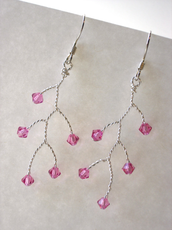 Tree Branch Earrings - Rose Swarovski