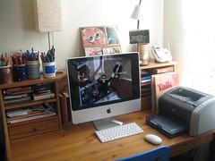 U2 on iMac (bgortych) Tags: ikea apple pencils u2 hp imac desk printer workspace setup pens markers frontrow laserjet