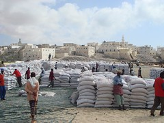 Food aid stacked on the beach in Somalia