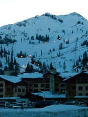 Night Skiing (lefeber) Tags: california snow mountains lights skiing dusk resort pinetrees olympicvillage alpinemeadows adaptive disabledsports adaptiveskiprogram