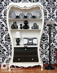 Black & White Living Room (MyLifeInPlastic.com) Tags: white black living room dollhouselighting