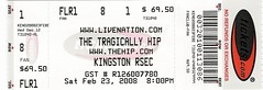 Tragically Hip Ticket 2008 Kingston