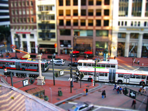 Tilt-shift photograph of Market Street, SFO
