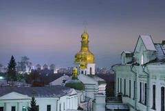 Ukraine, Night Kiev, Pechersk Lavra Monastery (lights2008) Tags: art church night dark gold evening ukraine kiev  mostpopular   blueribbonwinner   nightkiev anawesomeshot peachofashot