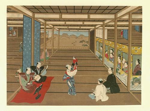 Jugando a las conjuras en un salon- artista Kiyomasu Torii.-contraste corregido