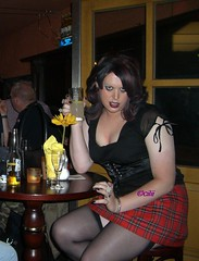 i dont drink alcohol, i am my own drug (cilii_77) Tags: public stockings outdoor heels flashing miniskirt tartan