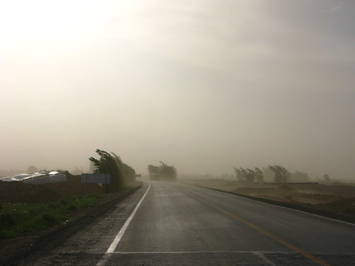 Beginnings of a fierce (way fun) sandstorm on my way to Shanshan, Xinjiang Province, China