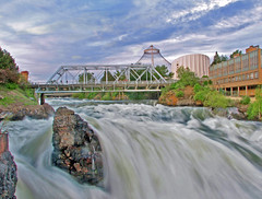 Spokane Falls in motion (Carplips) Tags: bridge cloud waterfall spokane swift ymca imax flooded raging